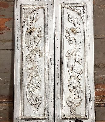 TWO GREY SHABBY CHIC GRIFFIN PANEL ANTIQUE FRENCH HAND CARVED WOOD PEDIMENT 19th