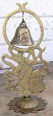 Very Appealing Antique Brass Oriental Figural Bell Warrior with Spear