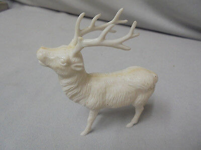 """Reindeer Christmas White Plastic, Not Marked, 3.25"""" Tall 3"""" Long Vintage"""
