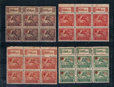 Poland 1921 Red X MNH Tab Numeral 6stamp Block Lot Sc#B11-B14 Mi#154-7 Fis#121-4