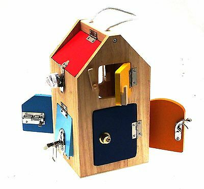 Toddler Toys Motor activity Toys Wooden House with locks Fine Motor Skills