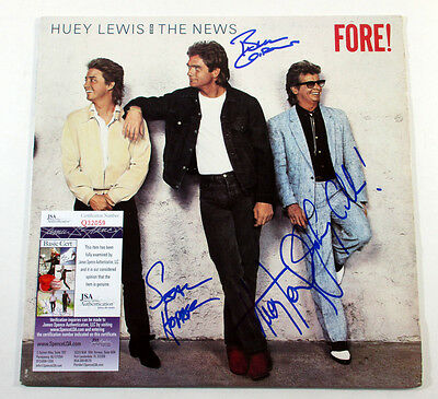 Huey Lewis & The News Signed LP Record Album Fore! 4 JSA AUTOS