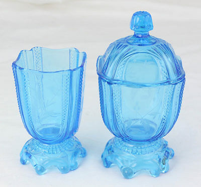 ATQ EAPG Blue Etched Glass Fern Cattail Spooner Covered Sugar Bowl Compote L5Z