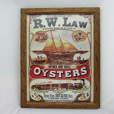 R.W. LAW OYSTERS NEW HAVEN CONN. ADVERTISING framed