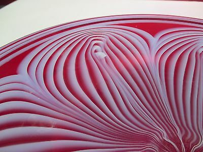 Studio Art Glass Ruby Red Glass Plate Pulled Feather Design