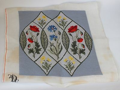 Completed Needlepoint Tapestry Blue Floral Flower Poppies Cushion?