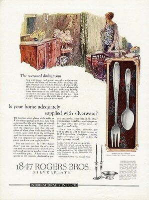 1847 ROGERS BROS Silverplate Ad Ambassador Pattern Shown - Woman in Dining Room