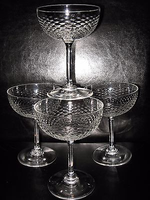 Set 4 antique mid Victorian crystal champagne glasses coupe saucers pan bowl