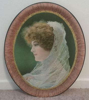 Antique Victorian Advertising Lithographic Serving Tin Tray Lady Woman Design
