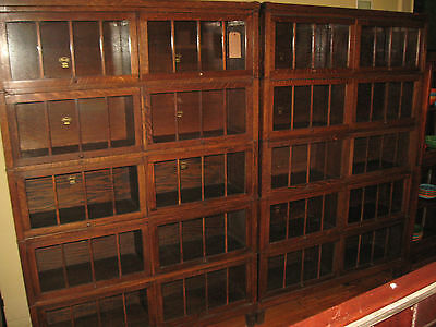 PAIR Large Macey Mission Oak Double Wide 5 Stack Bookcase Arts &Crafts Barrister