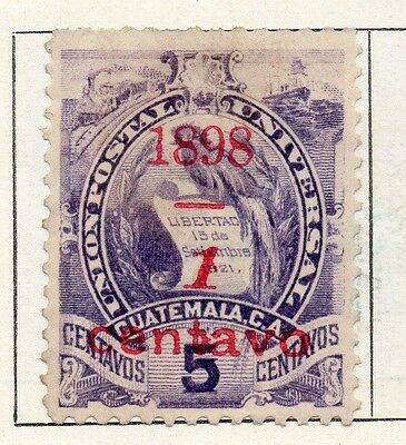 Guatemala 1898 Early Issue Fine Mint Hinged 1c. Surcharged 107943