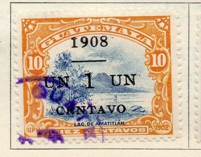 Guatemala 1908 Early Issue Fine Used 1c. Surcharged 108039
