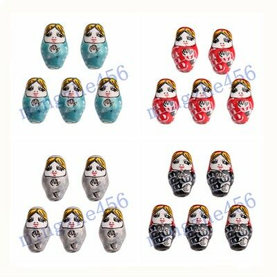 2-10pc 22x13mm Russian Doll Pattern Charms Loose Ceramic Porcelain Beads
