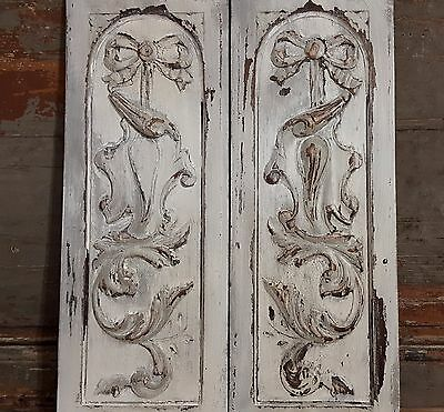 PAIR GREY SHABBY CHIC PANEL ANTIQUE FRENCH HAND CARVED WOOD PEDIMENT 19 th 21 in
