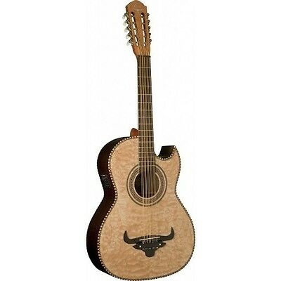Oscar Schmidt OH32SEQN Acoustic Electric Bajo Quinto W/Burled Maple Top