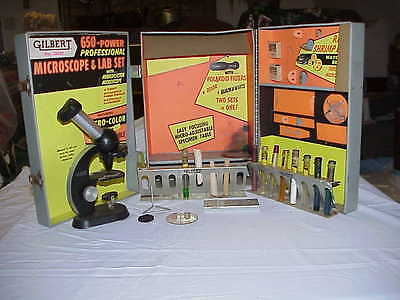 1950's Gilbert Microscope and Lab Set 13051 Incomplete
