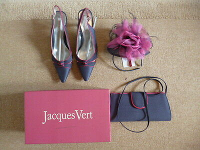 Jacques Vert wedding matching shoes (Size 7/40), handbag and fascinator.