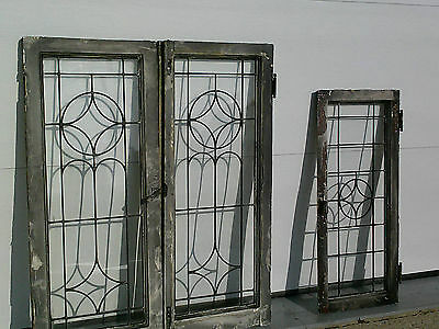 "3 Matched Antique Leaded Glass Cabinet Doors~18"" X 42""~Hardware~Windows"