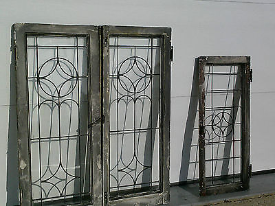 "3 Matched Antique Leaded Glass Cabinet Doors/Windows~18"" X 42""~Will Seperate"