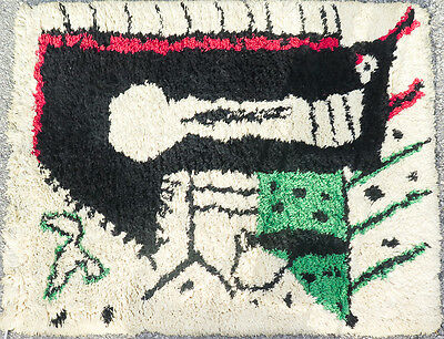 """Vintage RARE Classic French Rug Design by Picasso """"La Serrure"""" Modern 1950 Wool"""