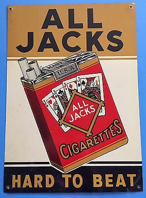 Vintage ALL JACKS CIGARETTES Tobacco 1950's METAL SIGN Playing Cards ADVERTISING