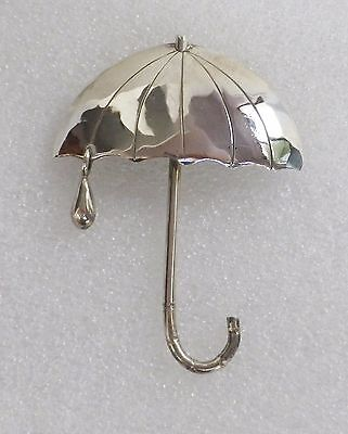 Vintage Sterling Silver Whimsical Open UMBRELLA with Dangling RAINDROP Pin  7 g