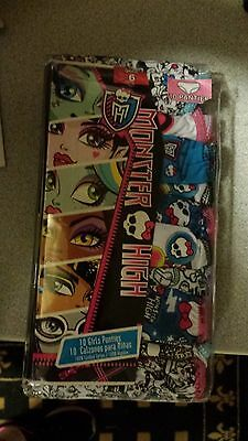 NEW Girl's Monster High 10 Pack Cotton Panties Underwear Size 6