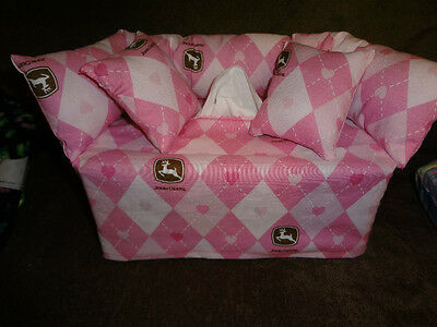 John Deere Argyle & Hearts Couch Sofa Tissue Box Cover Handmade New  L@@k