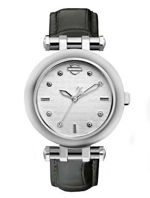 Harley-Davidson Ladies Signature Silver & White Face Leather Band Watch 76L168