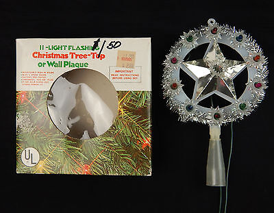 Vintage Christmas tree topper Flashing Blinking Colored Lights Silver Star w/box
