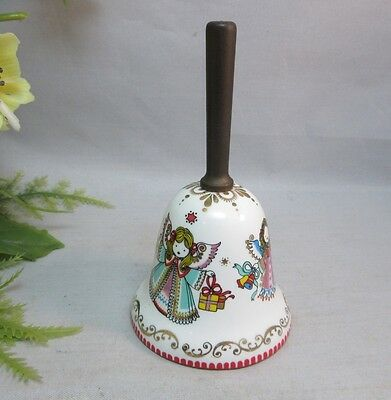 Vtg Arta enamel Christmas angels bell made in Austria