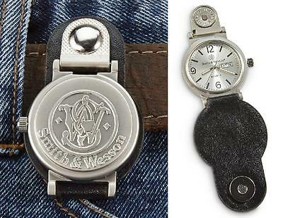 SMITH & WESSON CLIP WATCH Hour Minute GLOW HANDS Leather Belt Gear DATE Time NEW