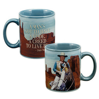 John Wayne A Creed To Live By Quote 12 oz. Ceramic Color Photo Mug, NEW UNUSED