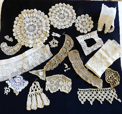 VTG antique Victorian hand made Trims Lace Edgings Patches 21 pieces ecru