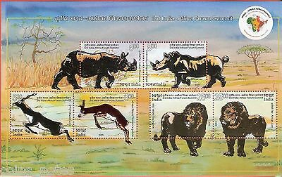 2015 3Rd India -Africa Forum Summit Innovative &embossed Lion Animals M/s Mint#6
