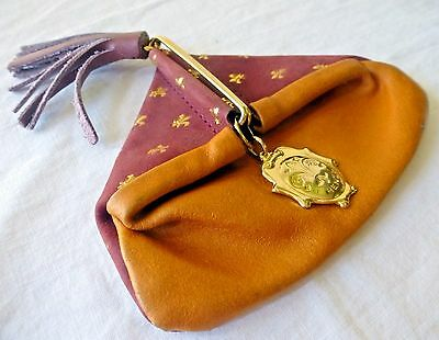 Vintage FIRENZE COIN PURSE Fleur di Lis Leather ITALY Gold Fastener Tassel