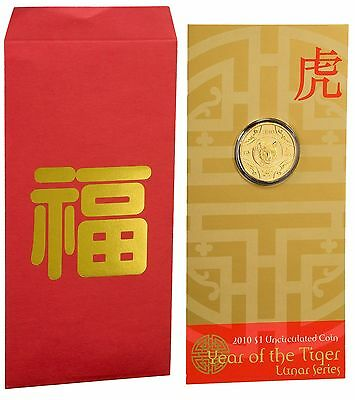 2010 Lunar Series - Year of the Tiger, $1 Uncirculated Coin in Card, RAM