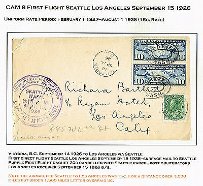 Usa Mixed Franking Airmail Ffc 1926 Bc Victoria Cross-Border (Mch30
