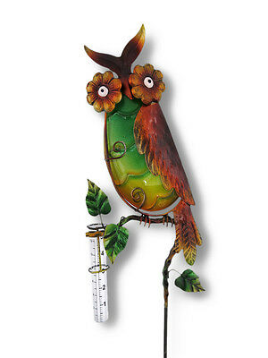 Adorable Wide Eyed Owl Rain Gauge Garden Stake
