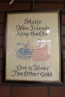 "Framed Vintage Cross Stitch ""make New Friends One Is Silver The Other Gold"""