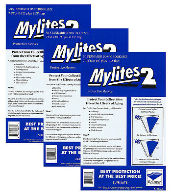 150 - E. GERBER MYLITES 2 STANDARD (BRONZE) 2-Mil Mylar Comic Bags Sleeves 725M2
