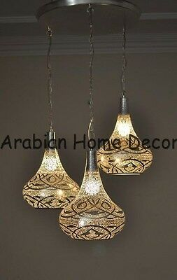 Moroccan 3 in 1 Silver Plated Pendant Chandelier Lamp Ceiling Light Fixture