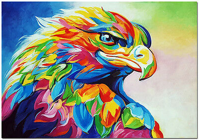 Hand Painted Hawk Oil Painting On Canvas - Colorful Impressionist Eagle Art