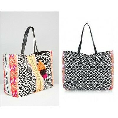 New Look Aztec Frilly Tassel Tote Bag Multi Coloured (ca971)