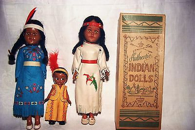 3 TOURIST 1960s INDIAN DOLLS by KIT-TEPEE VERY DETAILED 2 =LEATHER OUTFITS +BOX