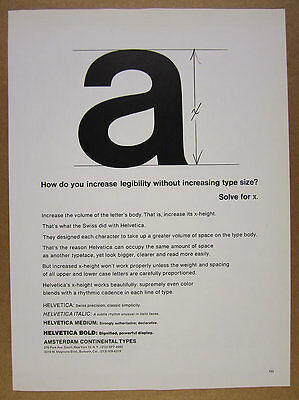 1964 Helvetica Typeface x-height Amsterdam Continental Types vintage print Ad