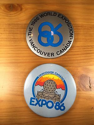 2 Expo 86 Buttons Vancouver Canada Vintage 1986 World Fair Pinback Lot