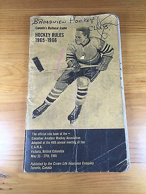 Official Rule Book 1965-1966 Canadian Amateur Hockey Association Broadview Sask