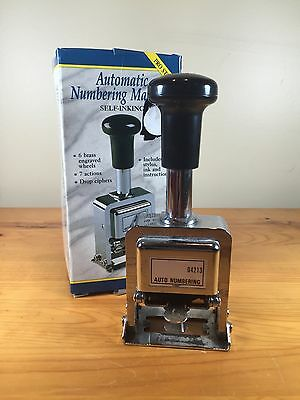 Rogers Automatic Numbering Machine Self Inking Auto Brass Wheels Pro Stamp 1993