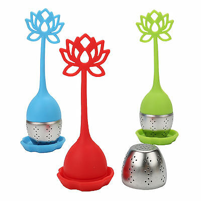 Lotus Shaped Tea Infuser Silicone Loose Leaf Herb Strainer Filter Diffuser Ball